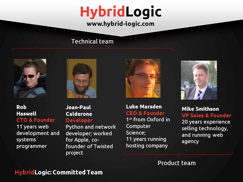 HybridLogic: Committed Team Luke Marsden CEO & Founder 1 st from Oxford in Computer Science; 11 years running hosting company Mike Smithson VP Sales & Founder 20 years experience selling technology, and running web agency Rob Haswell CTO & Founder 11 years web development and systems programmer Jean-Paul Calderone Developer Python and network developer; worked for Apple, co- founder of Twisted project Product team Technical team