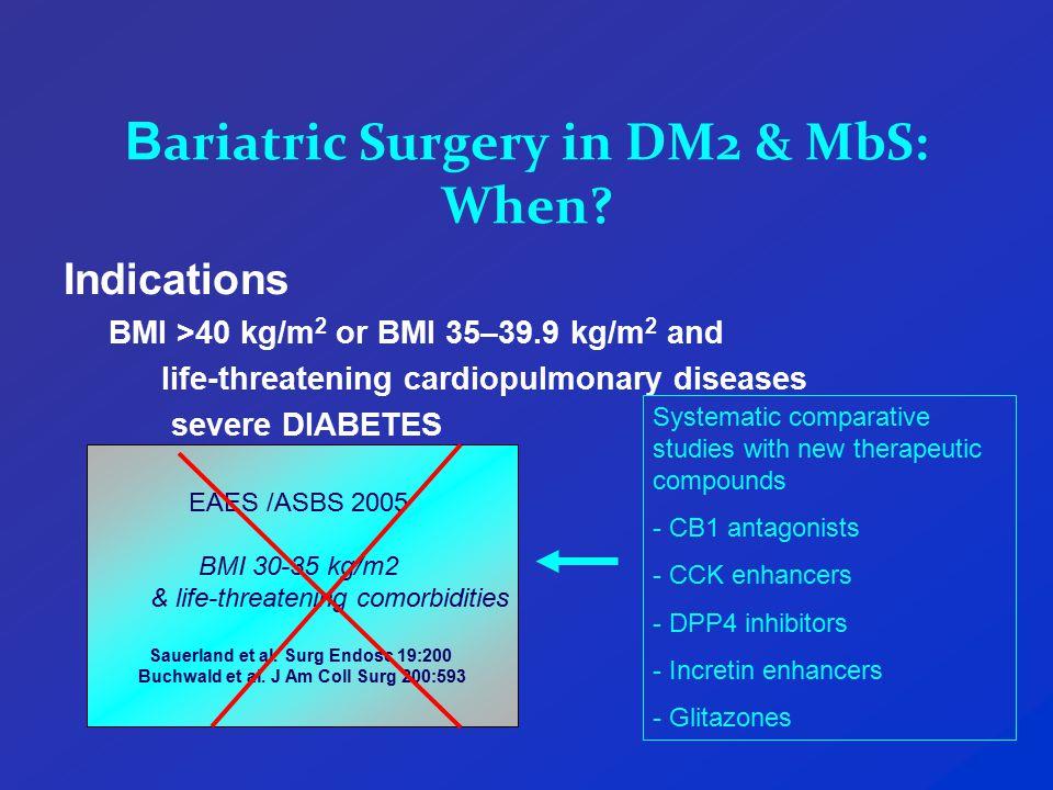 B ariatric Surgery in DM2 & MbS: When.