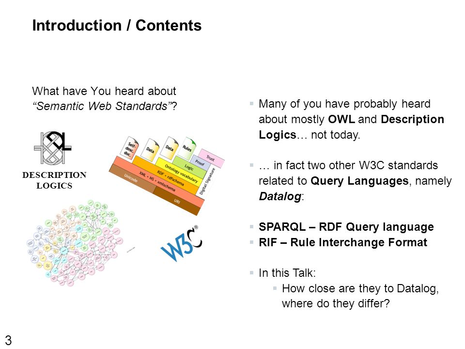 Introduction / Contents What have You heard about Semantic Web Standards .