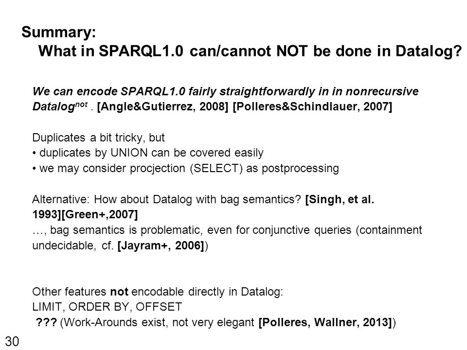 Summary: What in SPARQL1.0 can/cannot NOT be done in Datalog.