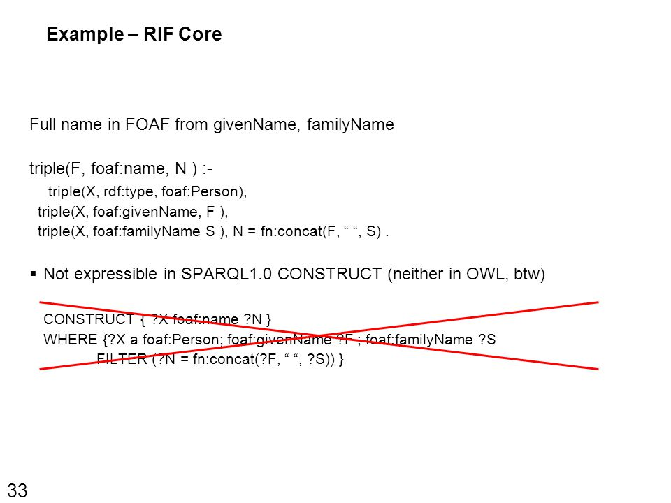 Example – RIF Core Full name in FOAF from givenName, familyName triple(F, foaf:name, N ) :- triple(X, rdf:type, foaf:Person), triple(X, foaf:givenName, F ), triple(X, foaf:familyName S ), N = fn:concat(F, , S).