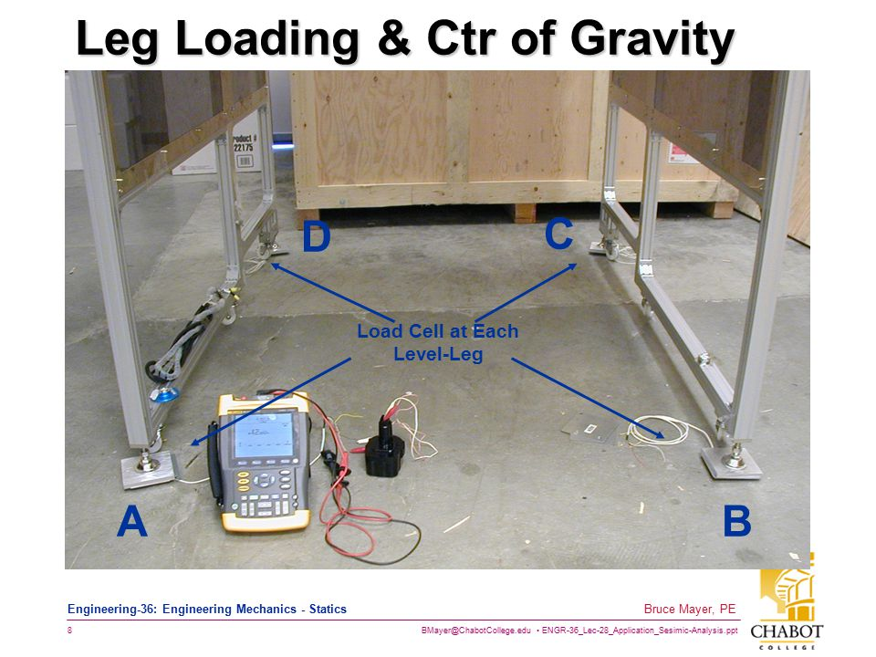 BMayer@ChabotCollege.edu ENGR-36_Lec-28_Application_Sesimic-Analysis.ppt 8 Bruce Mayer, PE Engineering-36: Engineering Mechanics - Statics Leg Loading & Ctr of Gravity Test Apparatus AB C D Load Cell at Each Level-Leg
