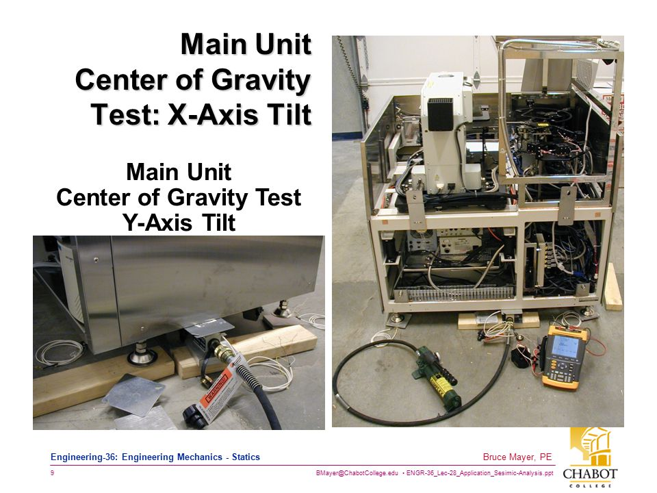 BMayer@ChabotCollege.edu ENGR-36_Lec-28_Application_Sesimic-Analysis.ppt 9 Bruce Mayer, PE Engineering-36: Engineering Mechanics - Statics Main Unit Center of Gravity Test: X-Axis Tilt Main Unit Center of Gravity Test Y-Axis Tilt