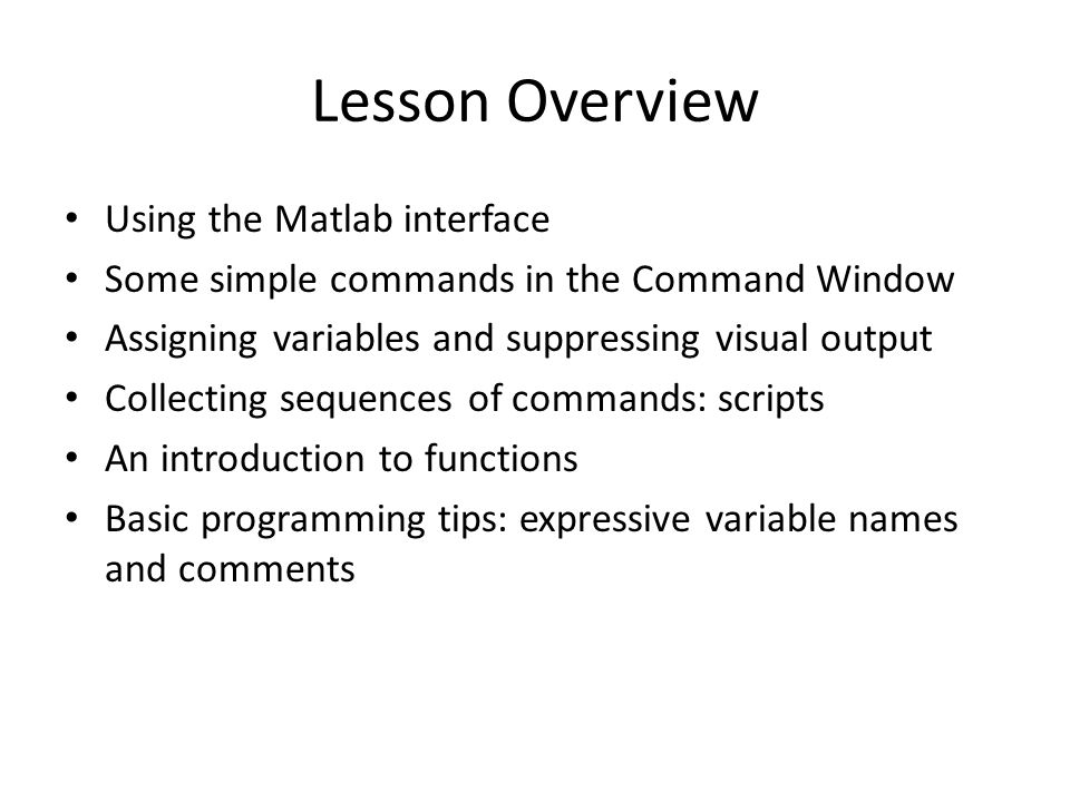 Lesson Overview Using the Matlab interface Some simple commands in the Command Window Assigning variables and suppressing visual output Collecting sequences of commands: scripts An introduction to functions Basic programming tips: expressive variable names and comments