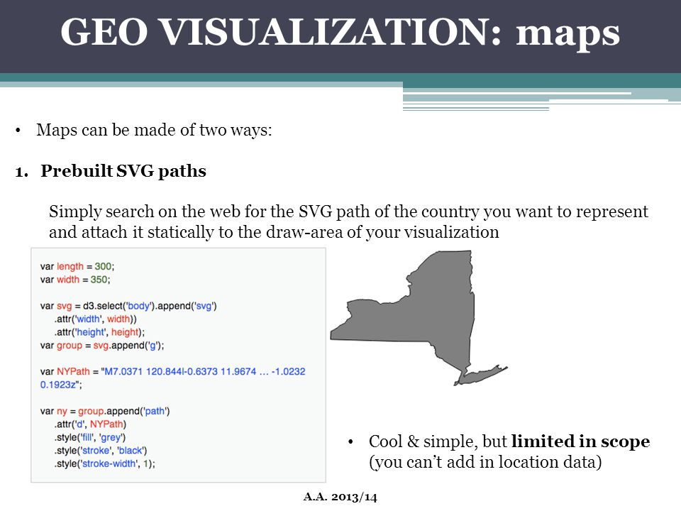 GEO VISUALIZATION: maps A.A. 2013/14 Maps can be made of two ways: 1.Prebuilt SVG paths Simply search on the web for the SVG path of the country you w