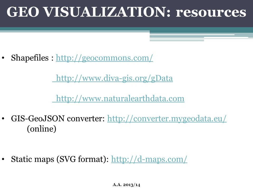 GEO VISUALIZATION: resources A.A. 2013/14 Shapefiles : http://geocommons.com/http://geocommons.com/ http://www.diva-gis.org/gData http://www.naturalea