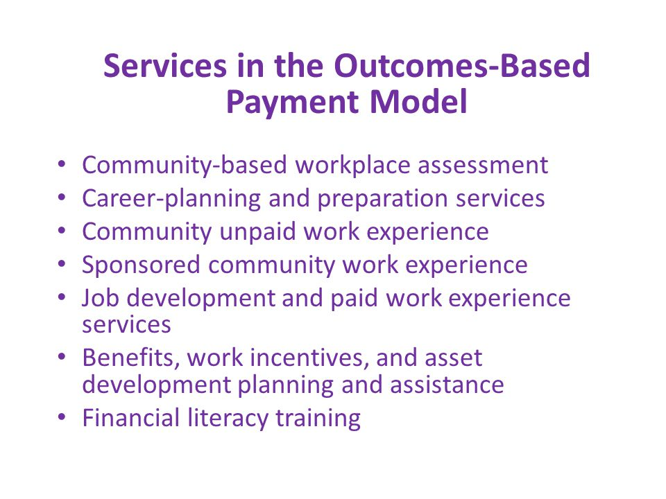 Community-based workplace assessment Career-planning and preparation services Community unpaid work experience Sponsored community work experience Job development and paid work experience services Benefits, work incentives, and asset development planning and assistance Financial literacy training Services in the Outcomes-Based Payment Model