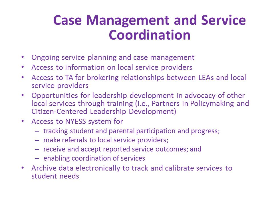 Ongoing service planning and case management Access to information on local service providers Access to TA for brokering relationships between LEAs and local service providers Opportunities for leadership development in advocacy of other local services through training (i.e., Partners in Policymaking and Citizen-Centered Leadership Development) Access to NYESS system for – tracking student and parental participation and progress; – make referrals to local service providers; – receive and accept reported service outcomes; and – enabling coordination of services Archive data electronically to track and calibrate services to student needs Case Management and Service Coordination