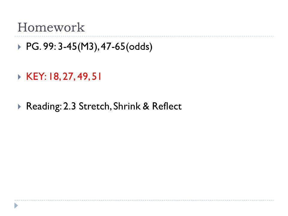 Homework  PG. 99: 3-45(M3), 47-65(odds)  KEY: 18, 27, 49, 51  Reading: 2.3 Stretch, Shrink & Reflect