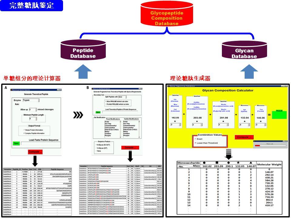 Glycopeptide Composition Database Peptide Database Glycan Database 单糖组分的理论计算器理论糖肽生成器 完整糖肽鉴定