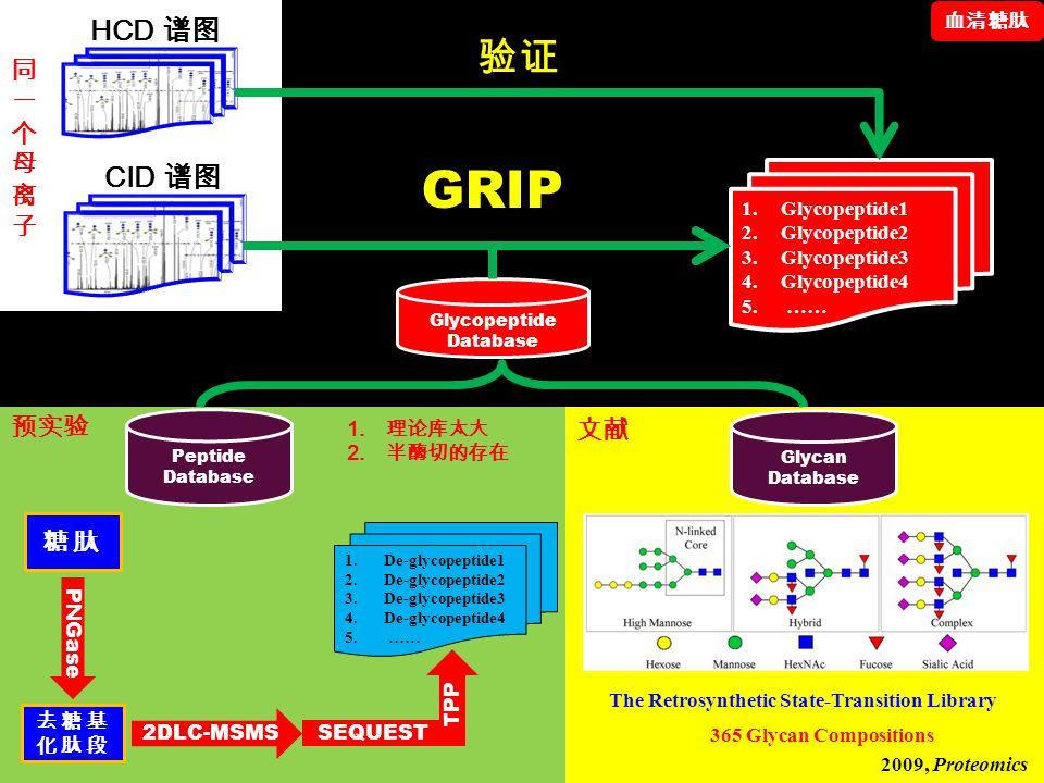 Glycopeptide Database Peptide Database Glycan Database 1.Glycopeptide1 2.Glycopeptide2 3.Glycopeptide3 4.Glycopeptide4 5. …… GRIP 糖肽 去糖基 化肽段 PNGase 2D