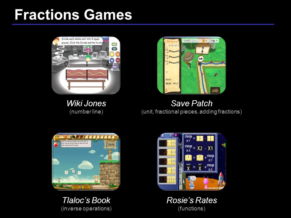 25 / 9 Save Patch (unit, fractional pieces, adding fractions) Tlaloc's Book (inverse operations) Wiki Jones (number line) Rosie's Rates (functions) Fractions Games