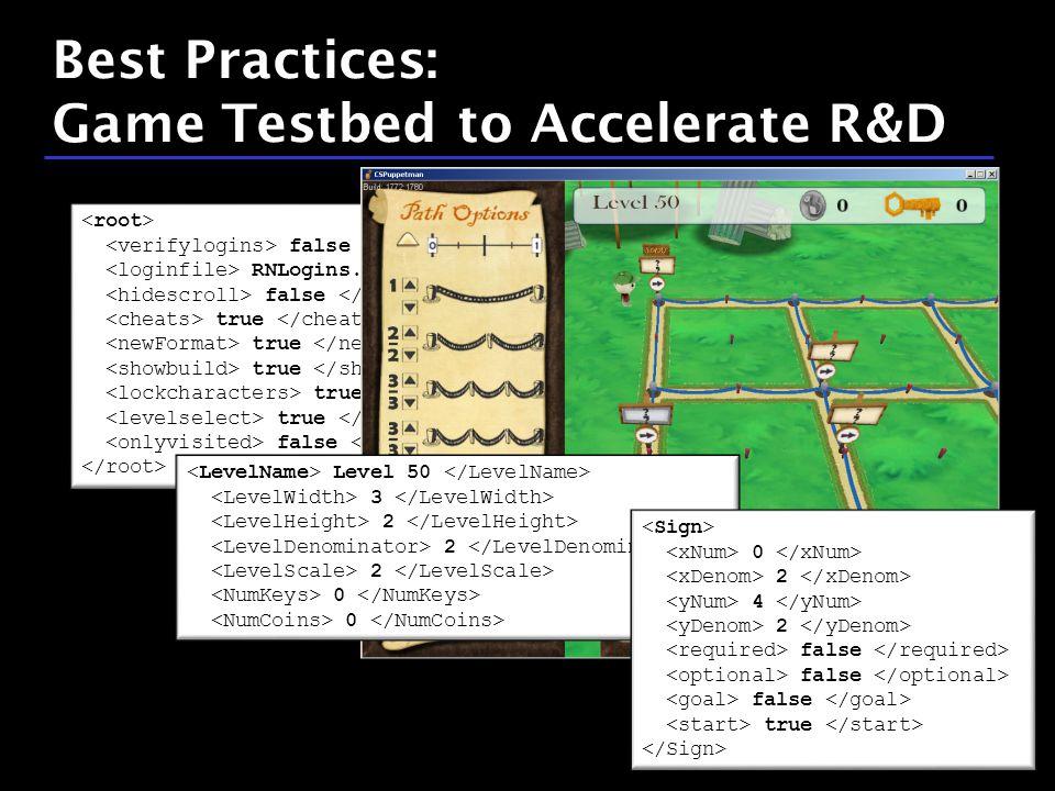34 / 9 false RNLogins.xml false true false Level 50 3 2 0 0 2 4 2 false true Best Practices: Game Testbed to Accelerate R&D