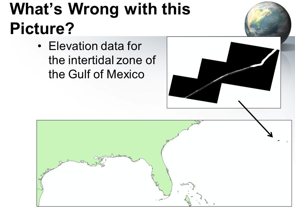 What's Wrong with this Picture Elevation data for the intertidal zone of the Gulf of Mexico
