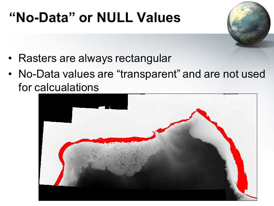 No-Data or NULL Values Rasters are always rectangular No-Data values are transparent and are not used for calcualations