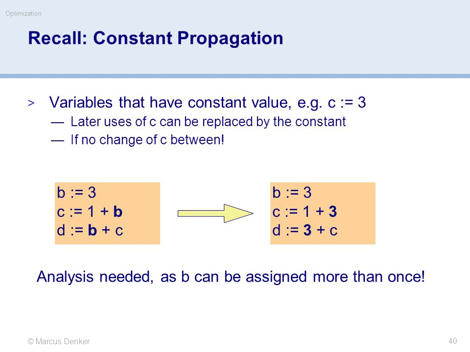 © Marcus Denker Optimization Recall: Constant Propagation  Variables that have constant value, e.g.