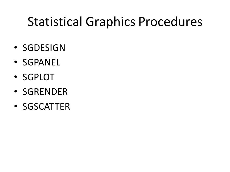 Statistical Graphics Procedures SGDESIGN SGPANEL SGPLOT SGRENDER SGSCATTER