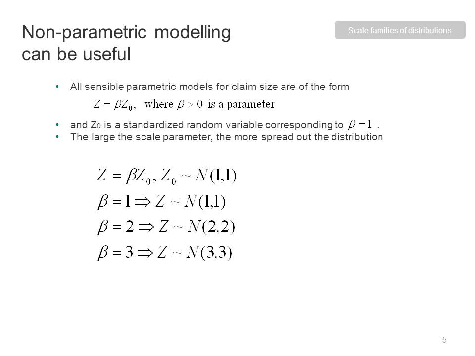 Models for scale families satisfy where are the distribution functions of Z and Z 0.