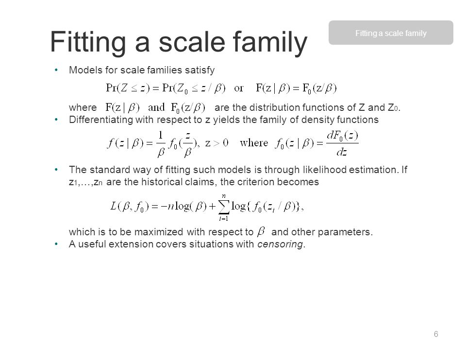 Models for scale families satisfy where are the distribution functions of Z and Z 0. Differentiating with respect to z yields the family of density fu