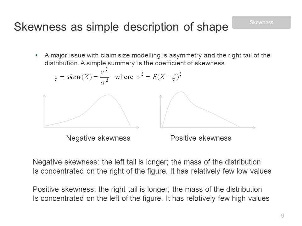 A major issue with claim size modelling is asymmetry and the right tail of the distribution. A simple summary is the coefficient of skewness Skewness