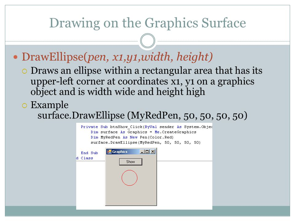 Drawing on the Graphics Surface DrawEllipse(pen, x1,y1,width, height)  Draws an ellipse within a rectangular area that has its upper-left corner at coordinates x1, y1 on a graphics object and is width wide and height high  Example surface.DrawEllipse (MyRedPen, 50, 50, 50, 50)