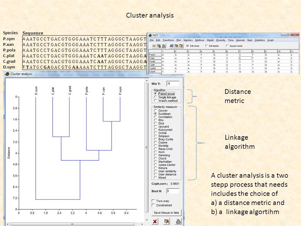 Cluster analysis Species Sequence P.symA AATGCCTGACGTGGGAAATCTTTAGGGCTAAGGTTTTTATTTCGTATGCTATGTAGCTTAAGGGTACTGACGGTAG P.xanA AATGCCTGACGTGGGAAATCTTTAG