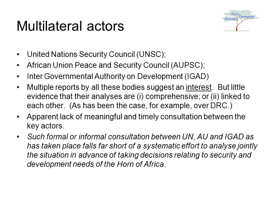 Multilateral actors United Nations Security Council (UNSC); African Union Peace and Security Council (AUPSC); Inter Governmental Authority on Development (IGAD) Multiple reports by all these bodies suggest an interest.