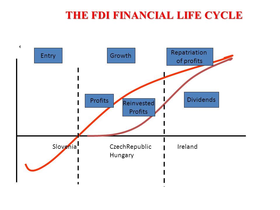 THE FDI FINANCIAL LIFE CYCLE € EntryGrowth Repatriation of profits Profits Reinvested Profits Dividends SloveniaCzechRepublic Hungary Ireland