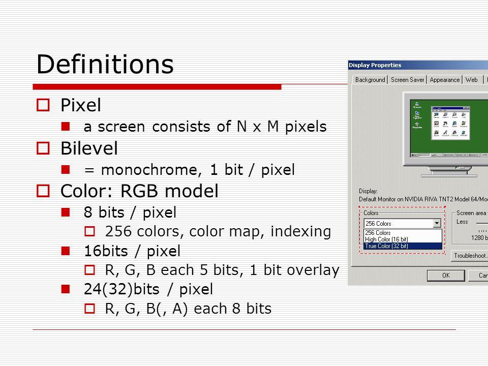Definitions  Bitmap / pixmap bitmap  1-bit-per-pixel bilevel systems pixmap  multiple-bit-per-pixel systems  Frame buffer an array of data in memory mapped to screen