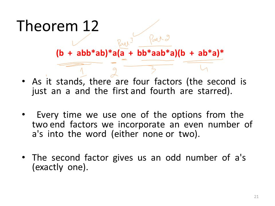 Theorem 12 As it stands, there are four factors (the second is just an a and the first and fourth are starred). Every time we use one of the options f