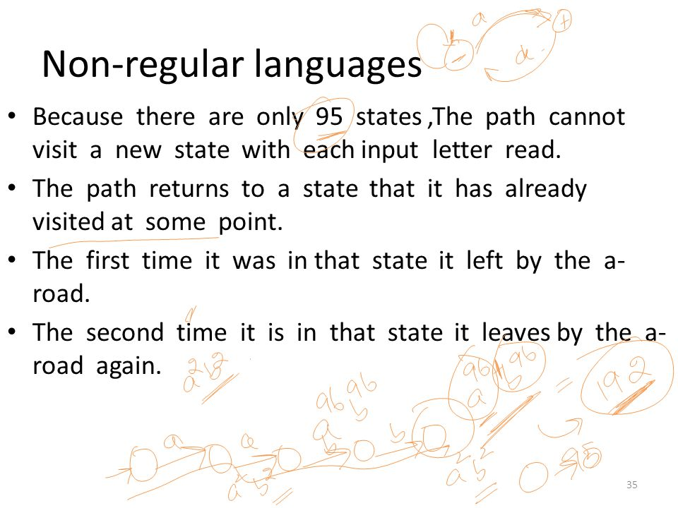 Non-regular languages Because there are only 95 states,The path cannot visit a new state with each input letter read. The path returns to a state that