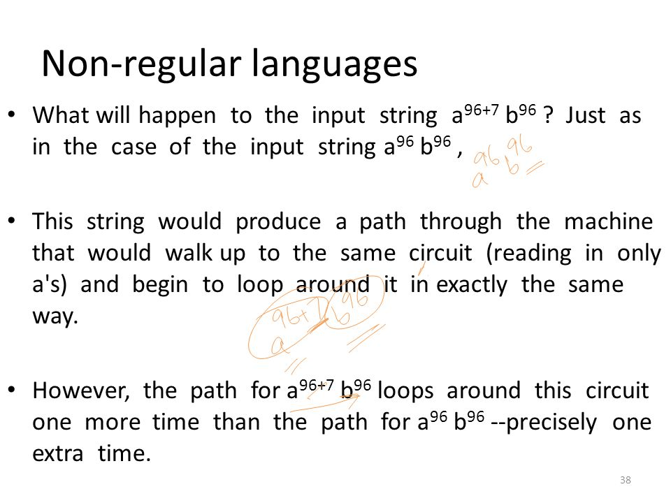 Non-regular languages What will happen to the input string a 96+7 b 96 ? Just as in the case of the input string a 96 b 96, This string would produce