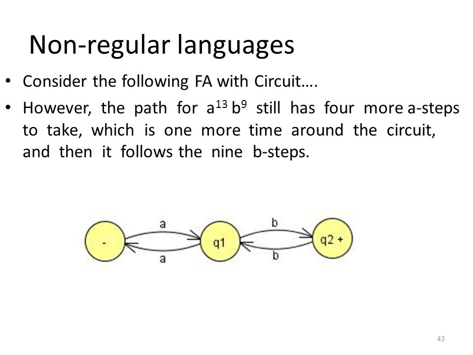 Non-regular languages Consider the following FA with Circuit…. However, the path for a 13 b 9 still has four more a-steps to take, which is one more t