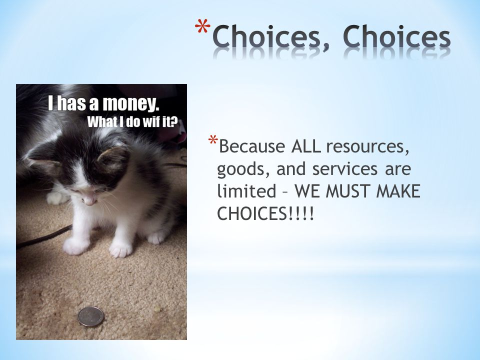 We make choices about how we spend our money, time, and energy so we can fulfill our NEEDS and WANTS.