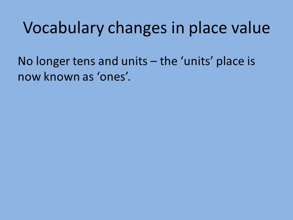 Vocabulary changes in place value No longer tens and units – the 'units' place is now known as 'ones'.