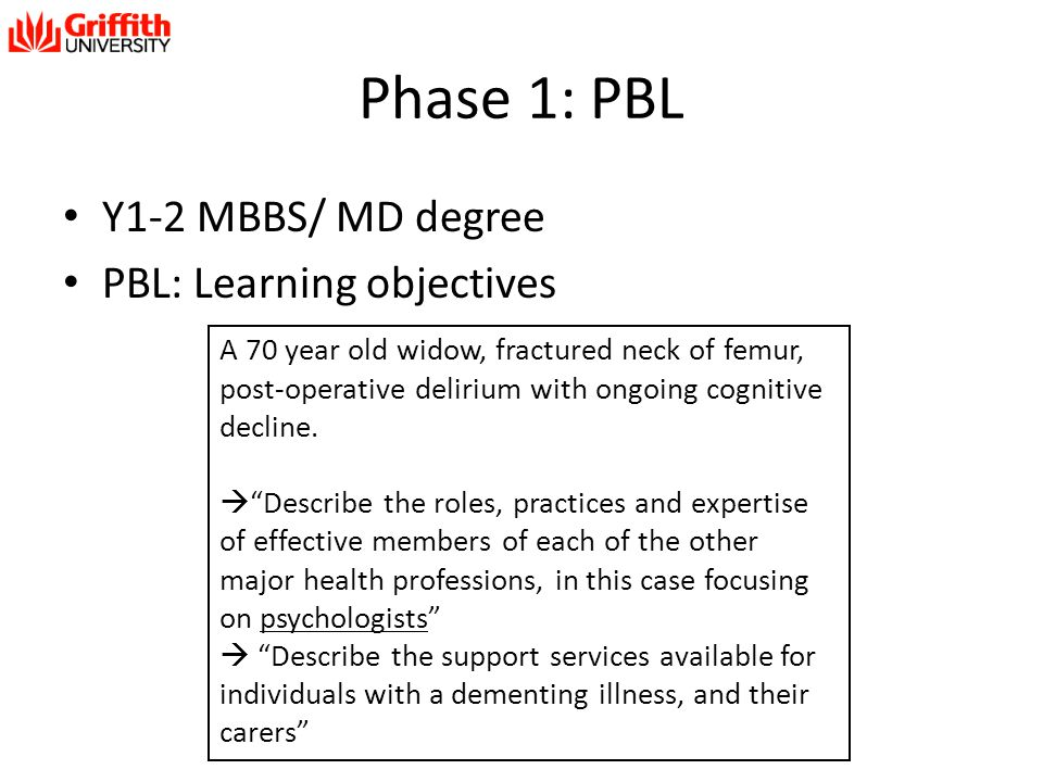 Phase 1: PBL Y1-2 MBBS/ MD degree PBL: Learning objectives A 70 year old widow, fractured neck of femur, post-operative delirium with ongoing cognitiv