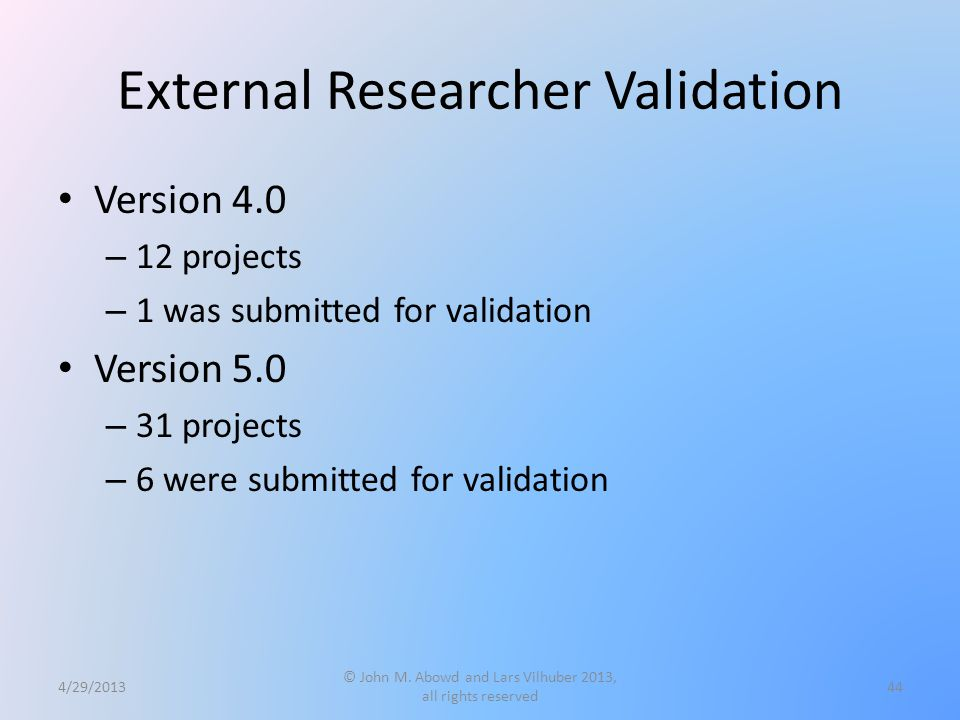 External Researcher Validation Version 4.0 – 12 projects – 1 was submitted for validation Version 5.0 – 31 projects – 6 were submitted for validation 4/29/2013 © John M.