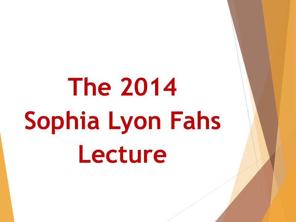 The 2014 Sophia Lyon Fahs Lecture