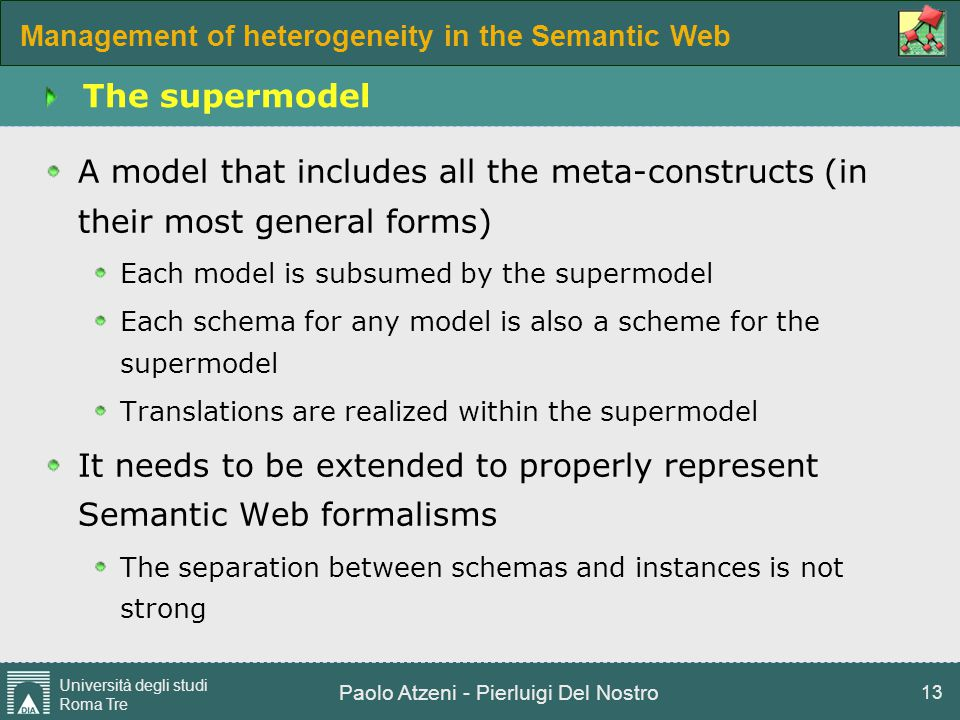 Management of heterogeneity in the Semantic Web Università degli studi Roma Tre Paolo Atzeni - Pierluigi Del Nostro 13 The supermodel A model that inc