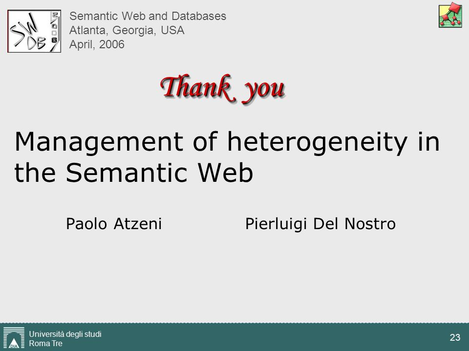 Università degli studi Roma Tre 23 Management of heterogeneity in the Semantic Web Paolo Atzeni Pierluigi Del Nostro Semantic Web and Databases Atlant