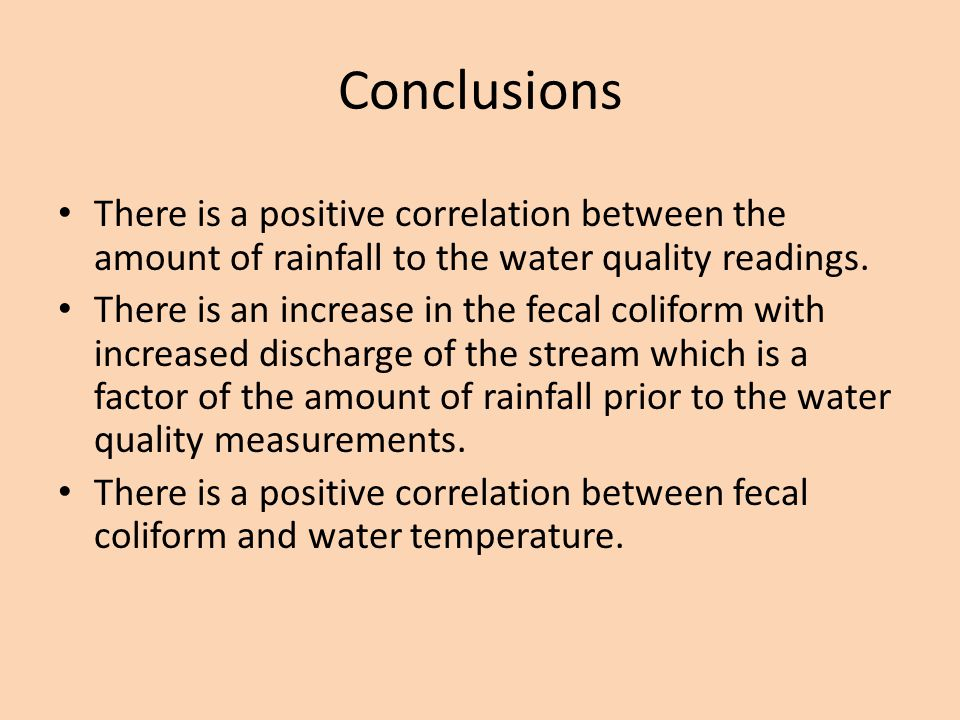 Conclusions There is a positive correlation between the amount of rainfall to the water quality readings.