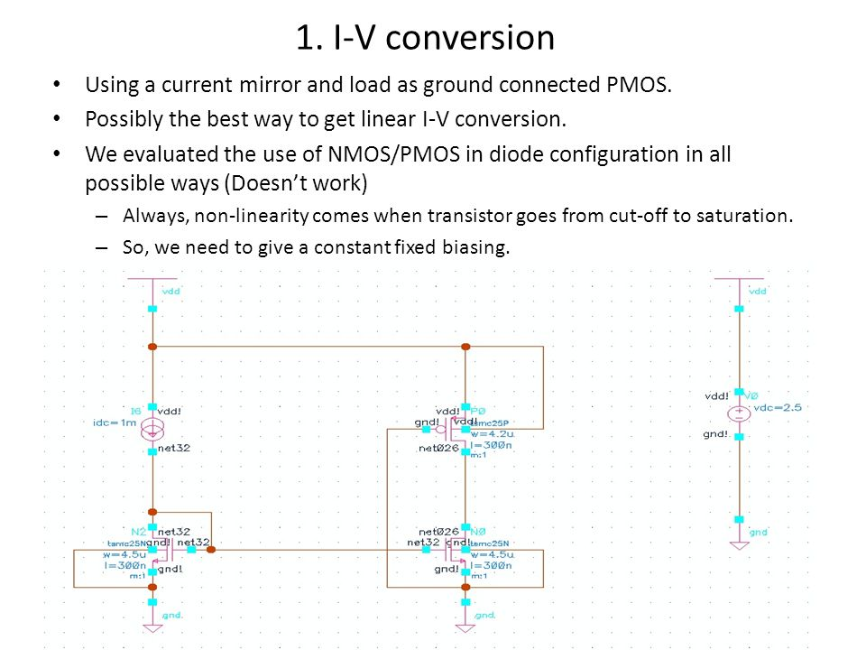 1. I-V conversion Using a current mirror and load as ground connected PMOS.