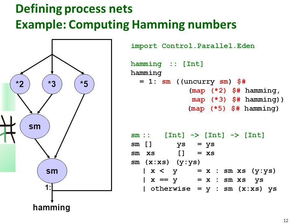 12 Defining process nets Example: Computing Hamming numbers import Control.Parallel.Eden hamming :: [Int] hamming = 1: sm ((uncurry sm) $# (map (*2) $