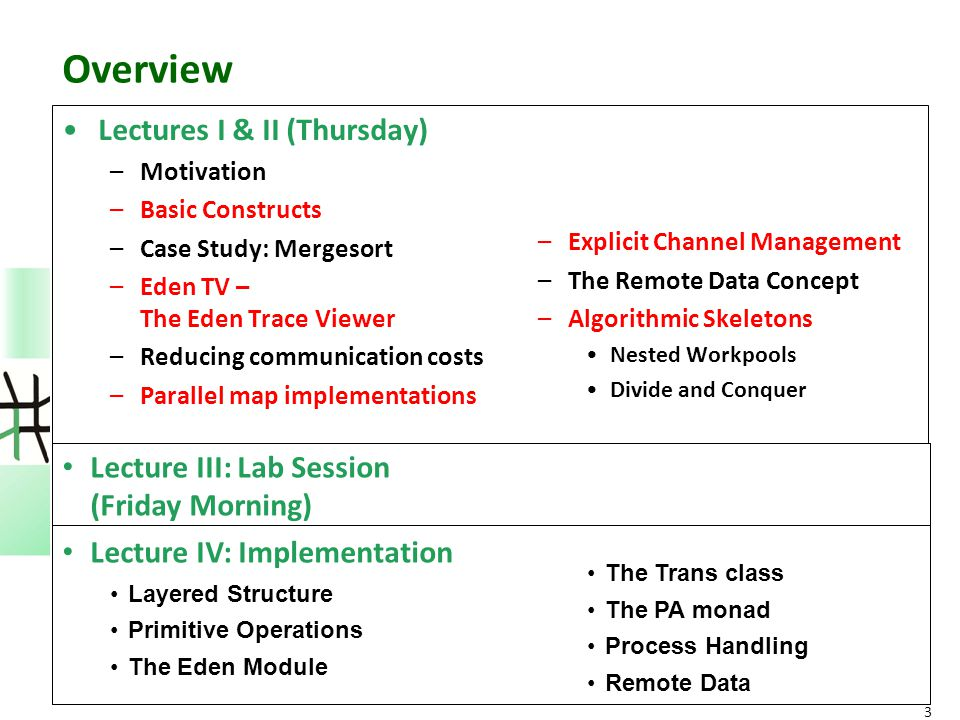 Overview Lectures I & II (Thursday) –Motivation –Basic Constructs –Case Study: Mergesort –Eden TV – The Eden Trace Viewer –Reducing communication cost