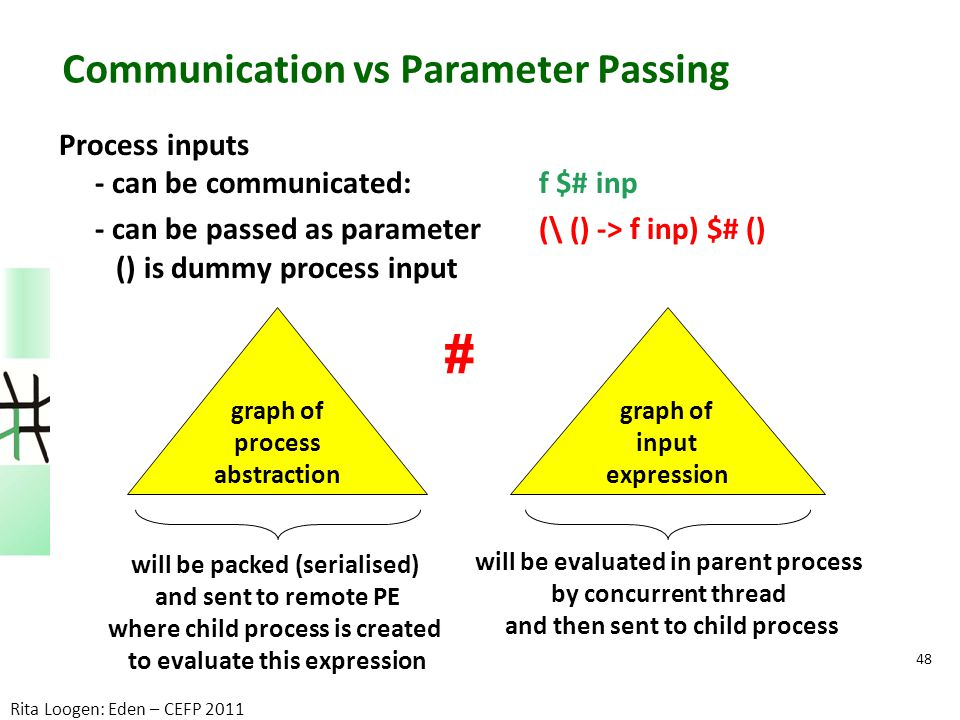 Communication vs Parameter Passing Process inputs - can be communicated: f $# inp - can be passed as parameter (\ () -> f inp) $# () () is dummy proce
