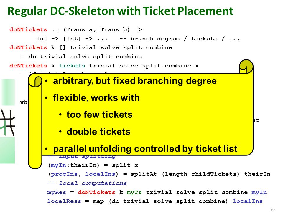 79 Regular DC-Skeleton with Ticket Placement dcNTickets :: (Trans a, Trans b) => Int -> [Int] ->... -- branch degree / tickets /... dcNTickets k [] tr