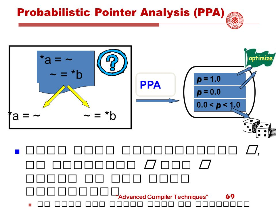 Probabilistic Pointer Analysis (PPA) 69 *a = ~ ~ = *b *a = ~~ = *b PPA With what probability p, do pointers a and b point to the same location.