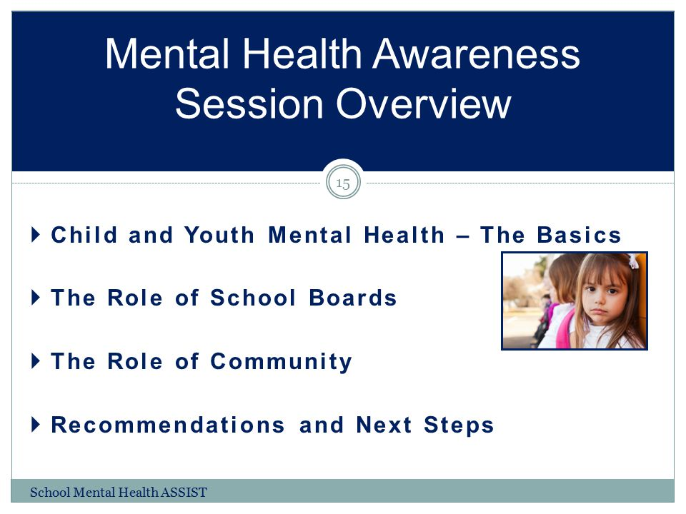  Child and Youth Mental Health – The Basics  The Role of School Boards  The Role of Community  Recommendations and Next Steps Mental Health Awaren