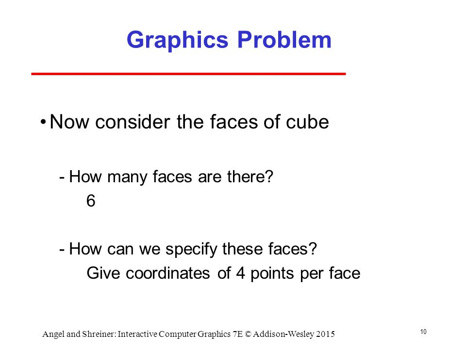 10 Graphics Problem Now consider the faces of cube ­How many faces are there.