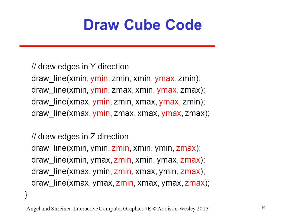Draw Cube Code // draw edges in Y direction draw_line(xmin, ymin, zmin, xmin, ymax, zmin); draw_line(xmin, ymin, zmax, xmin, ymax, zmax); draw_line(xmax, ymin, zmin, xmax, ymax, zmin); draw_line(xmax, ymin, zmax, xmax, ymax, zmax); // draw edges in Z direction draw_line(xmin, ymin, zmin, xmin, ymin, zmax); draw_line(xmin, ymax, zmin, xmin, ymax, zmax); draw_line(xmax, ymin, zmin, xmax, ymin, zmax); draw_line(xmax, ymax, zmin, xmax, ymax, zmax); } 14 Angel and Shreiner: Interactive Computer Graphics 7E © Addison-Wesley 2015